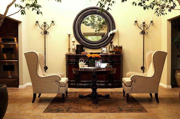 Foyer Armchair : Linen wingback chairs eclectic entrance foyer kishani