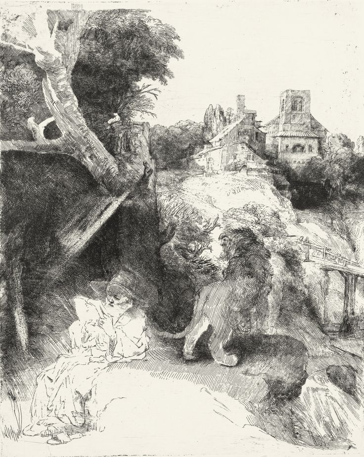 Rembrandt Van Rijn (1606-1669) Saint Jerome Reading In An Italian Landscape 1653 (26 x 21 cm)