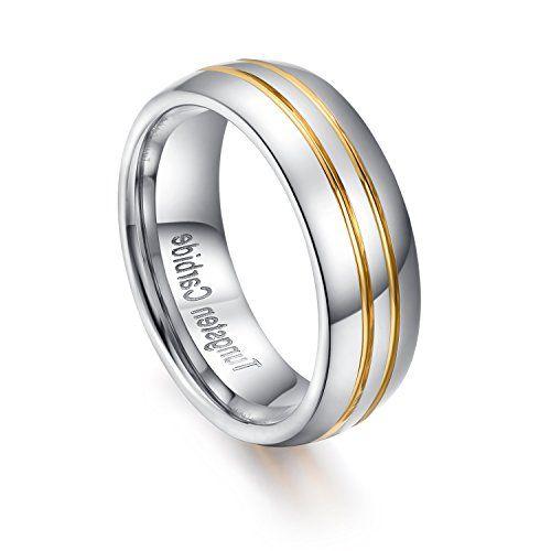 メンズ レディース タングステン リング 指輪,幅広 研磨 シンプル 結婚指輪,ゴールド(金)&シルバー(銀) KZUN…