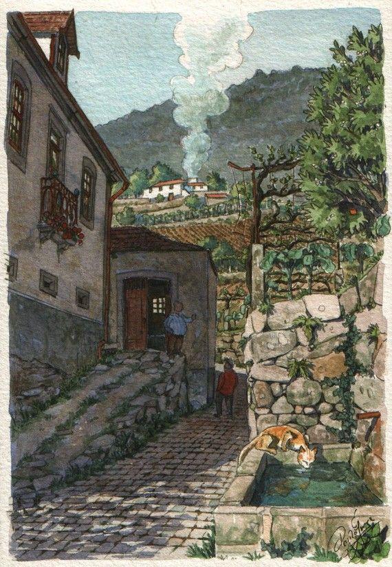 Houses and vineyards Original art small 7x5 by Postalguarelas