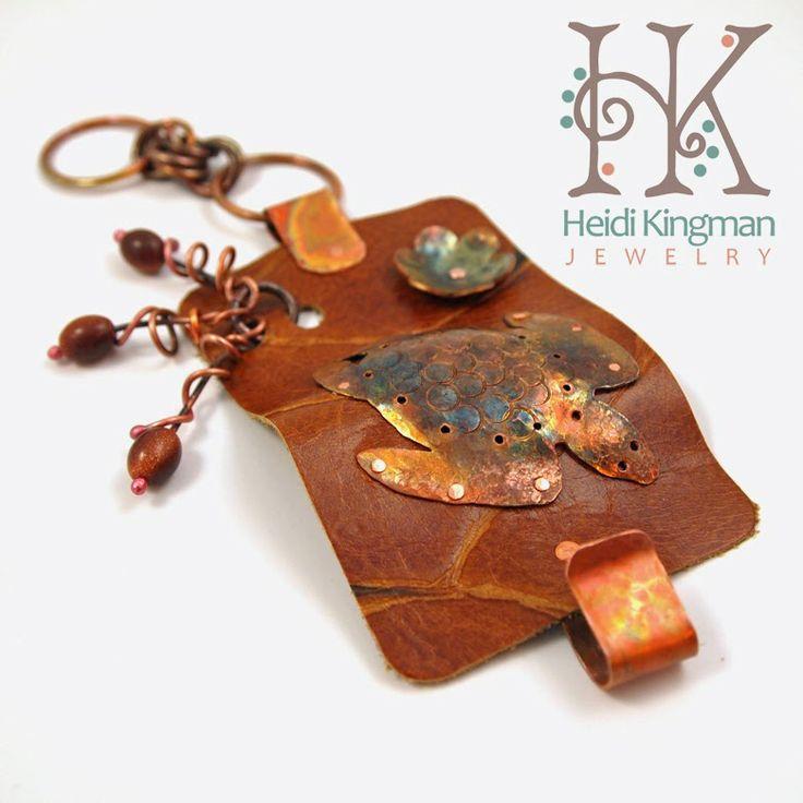 Sea Turtle Leather cuff bracelet by Heidi Kingman Jewelry.