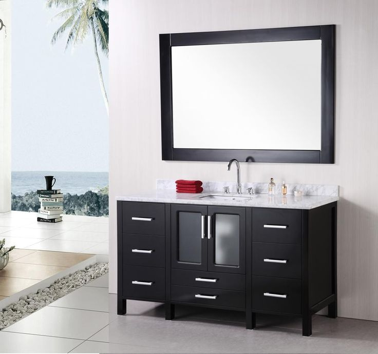 dark wooden bathroom cabinets ideas with white sleek top and sink wash basin in beach house - Bathroom Cabinet Ideas Design