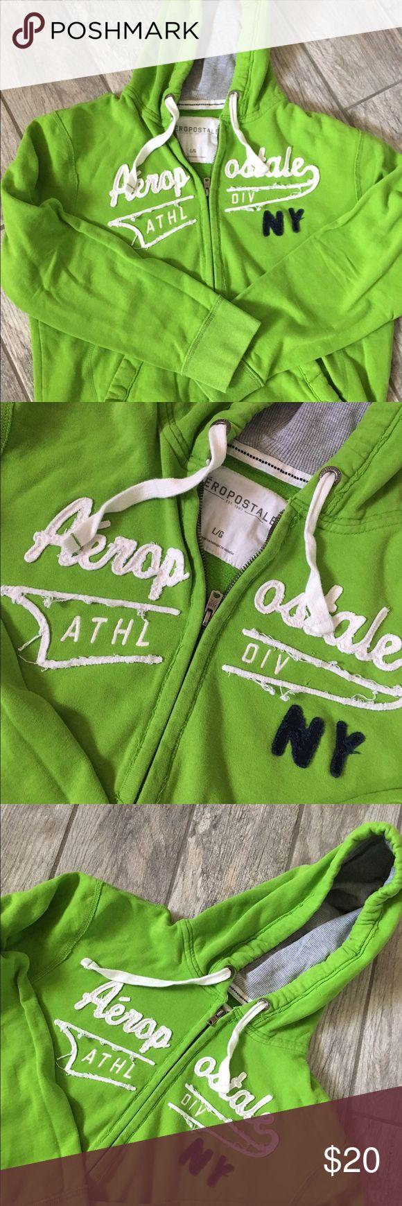 Aeropostale Unisex NY Zip Up Hoodie Bright green comfy zip up hoodie! Aeropostale Tops Sweatshirts & Hoodies
