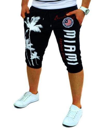 Shorts Mens Tights Compression Palm Print Design Bermuda