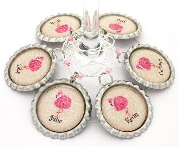 Flamingo favor pink flamingo encantos vino arpillera cumpleaños partido favorece personalizada boda despedida de soltera favores.
