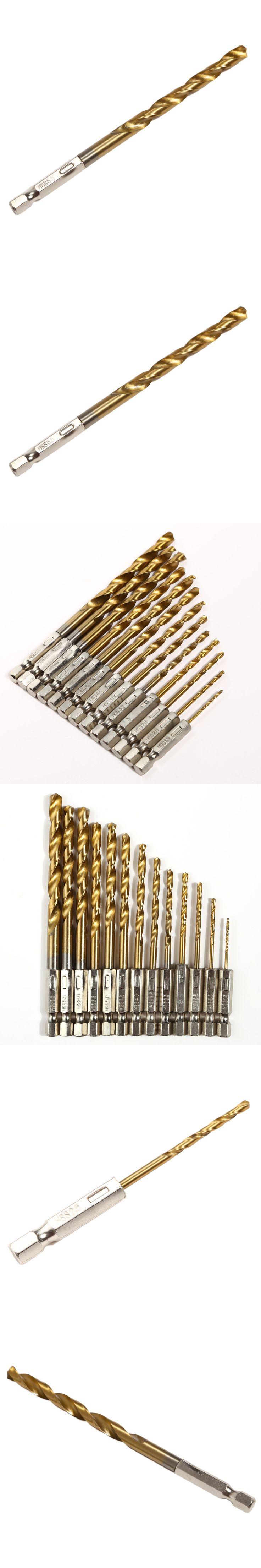 13pcs/set HSS High Speed Steel Twist Drill Bit for Metal Titanium Coated Drill 1/4 Hex Shank 1.5- 6.5mm Power Tools Accessories