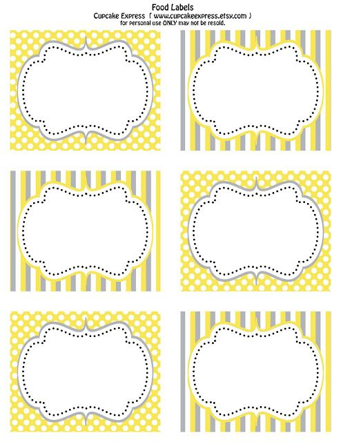 printable  yellow & gray food labels  from Cupcake Express