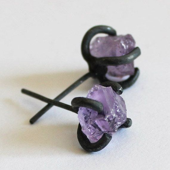 Handmade Amethyst Earring, 925 Silver Amethyst Rock Ear Studs, Unique Gift #handmade #etsyretwt