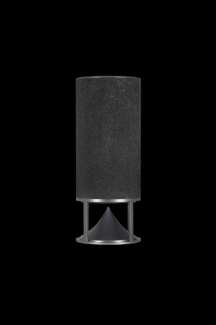 Cylinder black granite, omnidirectional sound speaker designed by Vladimir Djurovic for Architettura Sonora