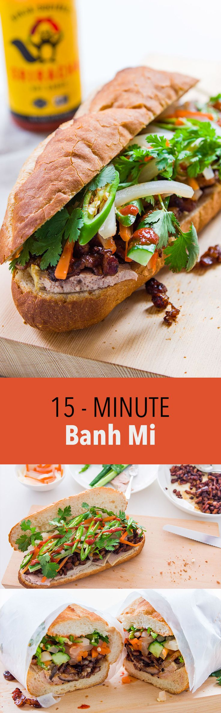 Easy Bánh Mì Thịt Xá Xíu with pickled vegetables, chiles, cilantro and a quick stove-top char siu (Chinese barbecued pork).