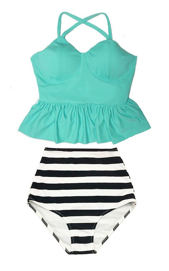 Mint Long Peplum Tankini Tankinis Top and Stripe by venderstore http://amzn.to/1q1Dckw