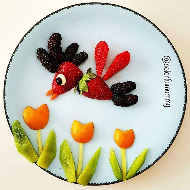 Minik kuş laleleri çok seviyor... Little bird loves tulips so much... Çilek, karadut, kivi, malta erigi, havuç... Strawberry, mulberry, kiwi, loquat, carrot... #tulips #flowers #birds #spring