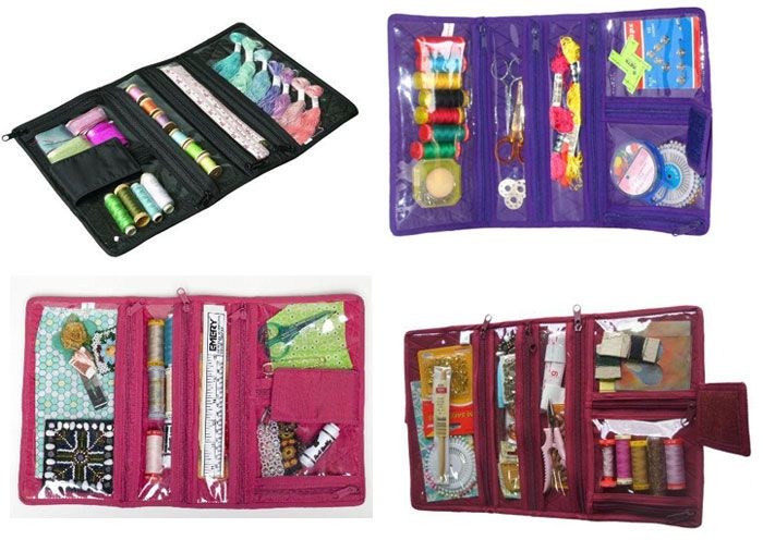 """Note : At this moment, we only have BLACK color  Organizer : Compact Craft Organiser / 1 pc Another wonderful idea for carrying your small craft projects such as appliqué and beadwork. This compact organiser """"roll"""" can also be used for make-up and jewellery."""