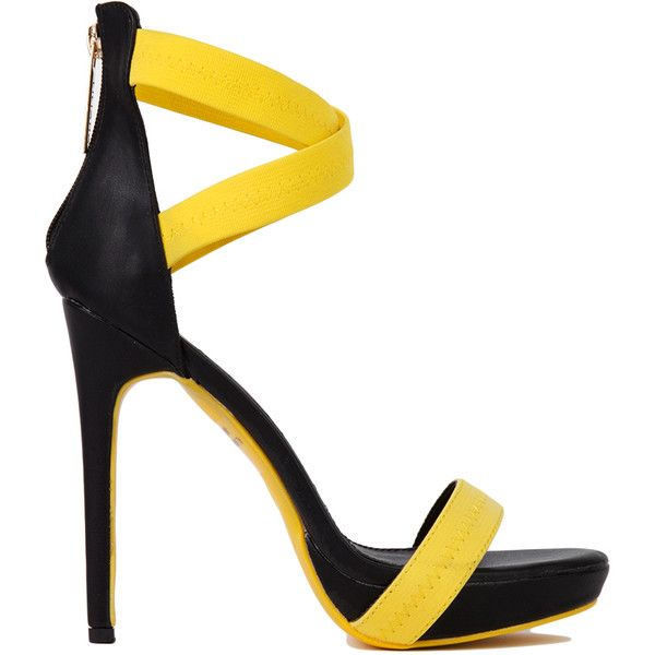 Cross Ankle Strap Yellow Stilettos ($15) found on Polyvore featuring shoes, sandals, heels, yellow, ankle strap shoes, high heel shoes, yellow sandals, strappy heel sandals and platform sandals
