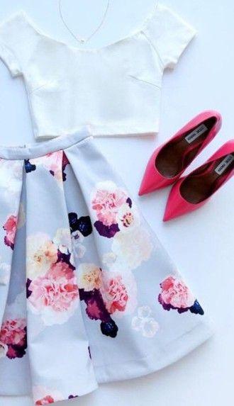 skirt midi skirt skater skirt pleated skirt floral skirt crop tops white crop…