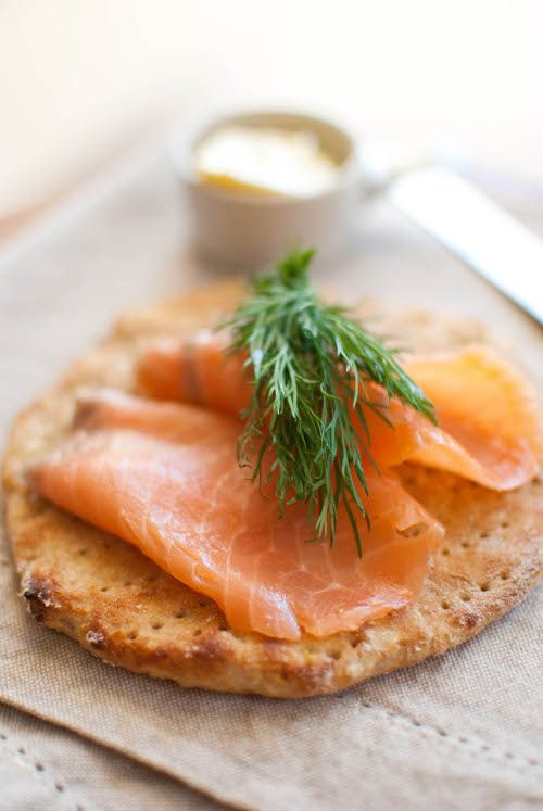 Finnish potato flat bread with butter,salmon and dill.