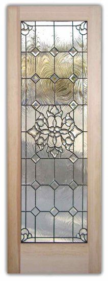 Textured, Beveled glass... more like the suggestion of bevelling from Scott but its such a beaut door anyhow!