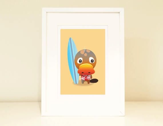 Platypus nursery print digital art art for kids playroom