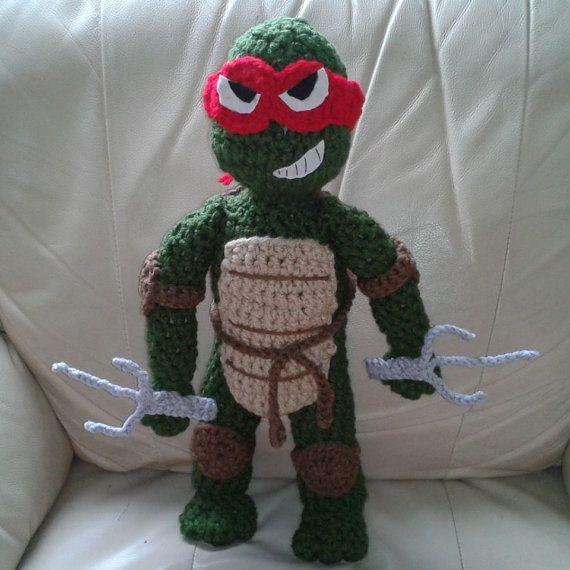 Ninja Turtle Crochet Amigurumi : Crocheted Teenage Mutant Ninja Turtles (Raphael Shown ...