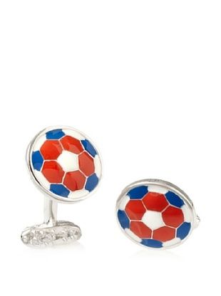 Tateossian Red White Blue Football Cufflinks