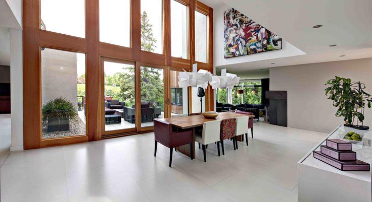 #Dining room, large windows, #concrete #floor