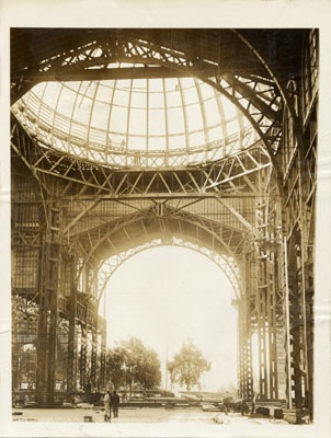 Inside view of Palace of Fine Arts construction prior to the 1915 Panama-Pacific International Exposition (c. 1914 : San Francisco, Calif.)