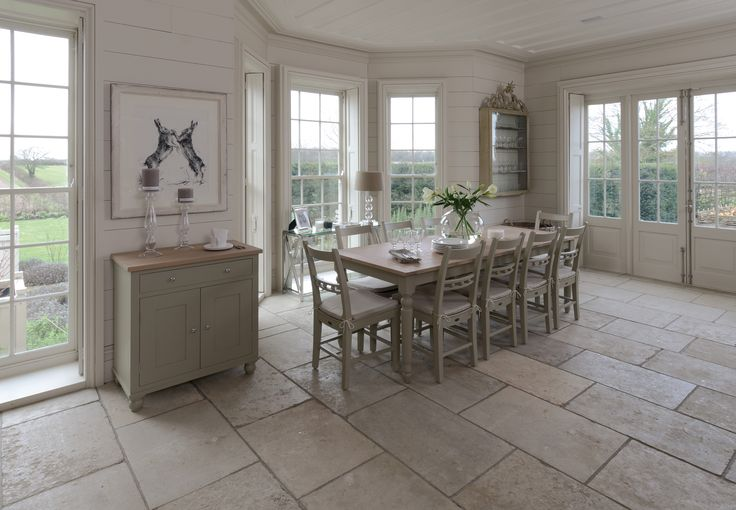 Neptune Suffolk table chairs and sideboard painted in 'Honed Slate'