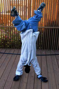 Kids will get a kick out of this Upside-Down Man Costume! This homemade Halloween costume couldn't be easier to put together.