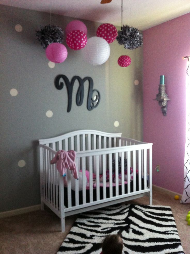 Best 364 pink and grey rooms images on pinterest kids - Newborn baby room decorating ideas ...