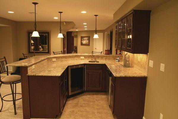 Basement Wet Bar Ideas | wet bar with granite counter, mosaic tile back splash in basement ...