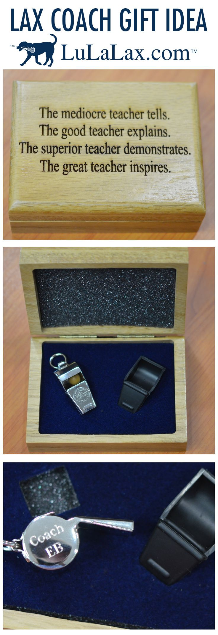LuLaLax has great ideas for lacrosse coach gifts! How about an engraved whistle in an oak case? Love it! LuLaLax.com