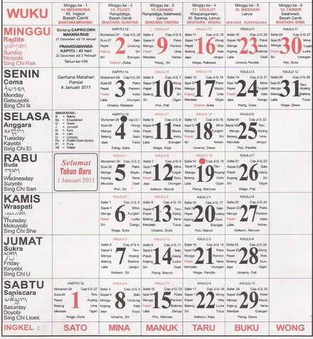 Balinese calendar months have 35 days, and years six months (210 days). The schedule in Bali is full of red days, pointing national, or (red or black) circles, pointing parties Bali island, which can be Muslim holidays, being a Muslim country, Hindu holiday parties, for being a Hindu island, and Catholic and Chinese festivals, having also Catholics and Chinese. In Bali there is always something to celebrate !!!!!