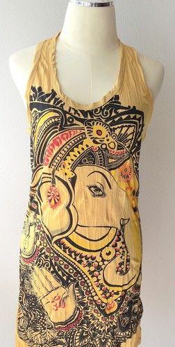 New Mini Dress Yellow OM Ganesh Ganesha Hindu India Hippie Hobo Boho Art RARE | eBay