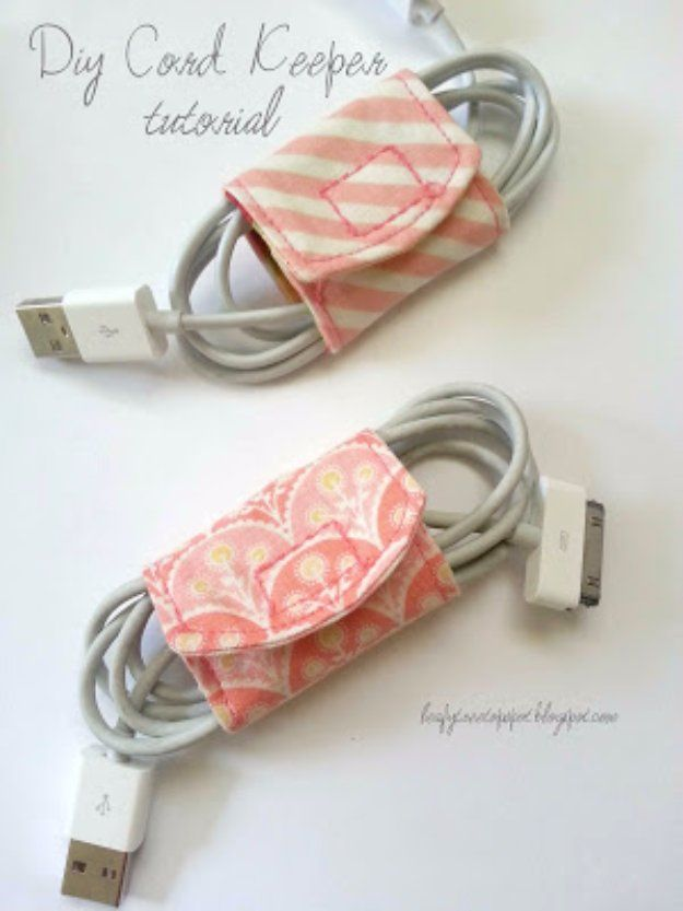 Cool Crafts  You Can Make With Fabric Scraps - DIY Cord Keeper From Fabric Scraps - Creative DIY Sewing Projects and Things to Do With Leftover Fabric and Even Old Clothes That Are Too Small - Ideas, Tutorials and Patterns http://diyjoy.com/diy-crafts-leftover-fabric-scraps