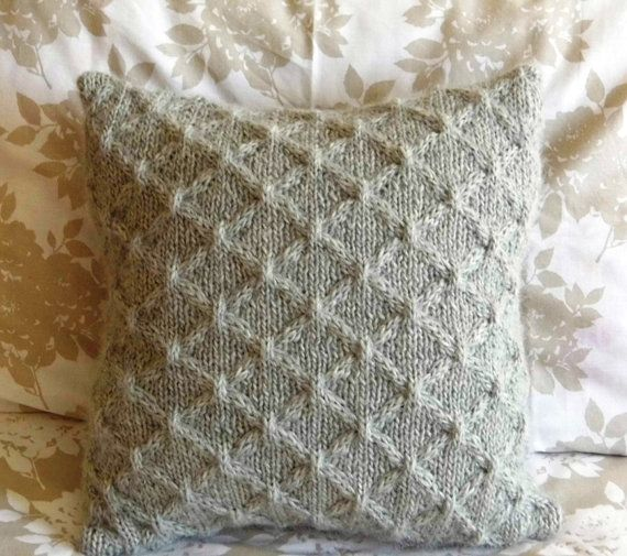 Hand Knit Cabled Pillow cushion Light Gray Soft. by ELITAI on Etsy,