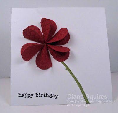 Birthday card: 3-D flower using heart punch