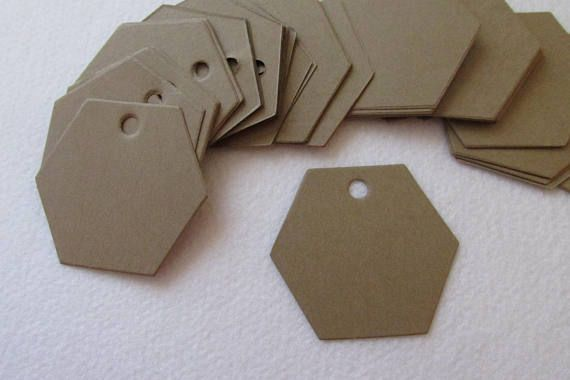 50 Blank 2 Hexagon shaped Kraft tags gift tag hang tag