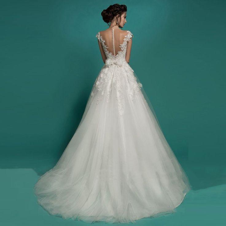 FW937 Vintage Lace Sexy Ver Através Top Vestidos de Noiva 2017 New Design Colher vestido de Baile Princesa Nupcial Gownsvestidos de Noiva em Vestidos de casamento de Casamentos & Eventos no AliExpress.com | Alibaba Group