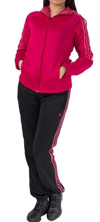 Trening-ul Medat Suit este pentru femeile energice carora le place sa practice sport in natura. Hanoracul de culoare roz, se inchide cu fermoar, are buzunare laterale si are gluga din material impermeabil care este reglabila cu snur. Pantalonii de culoare neagra, sunt slim fit si se muleaza pe corp pentru a oferi libertate de miscare, iar cele 3 dungi de culoare roz sunt emblema calitatii