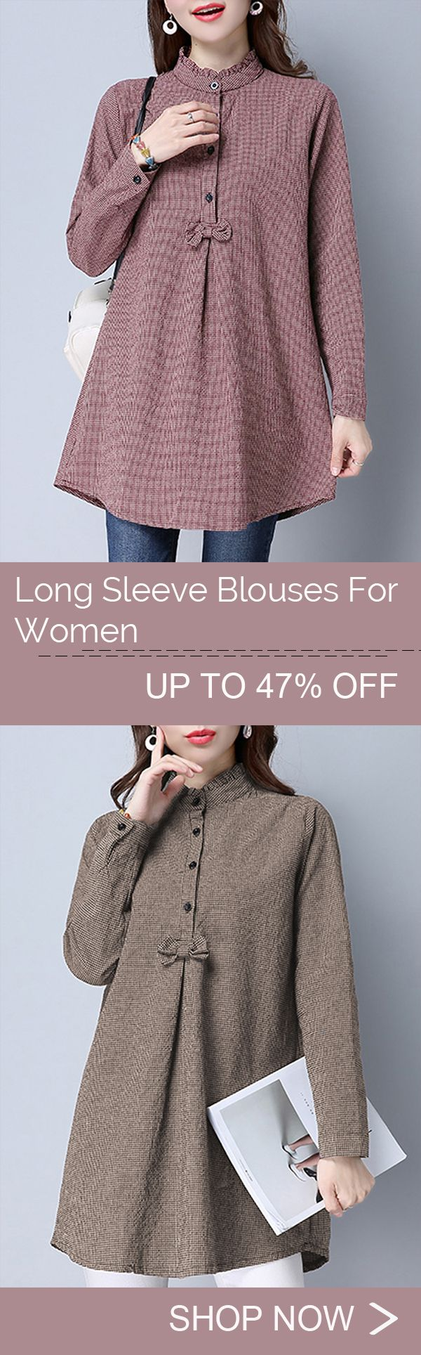 [Newchic Online Shopping] 47%OFF Gracila Women's Irregular Plaid Print Blouses with Long Sleeve and Bowknot