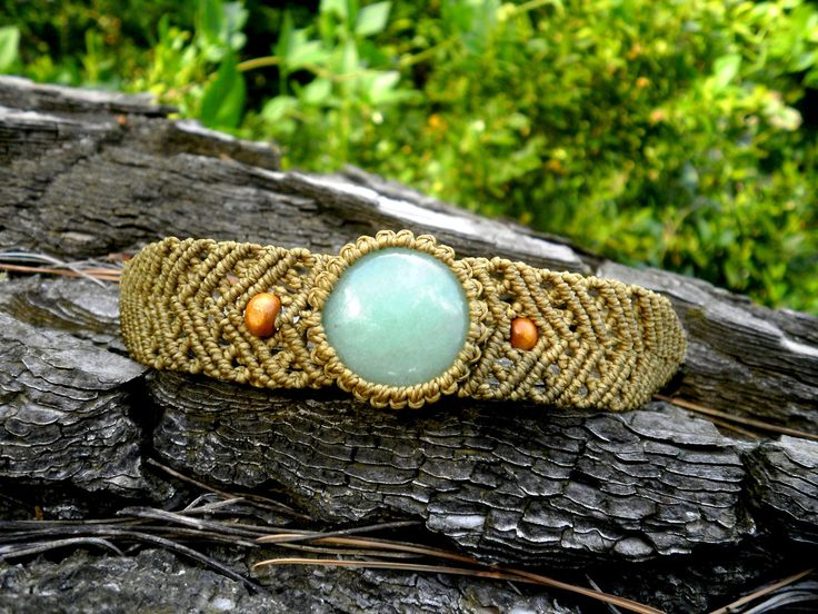 Bracelet macramé pierre aventurine verte macramé marron kaki et bois : Bracelet par stonanka