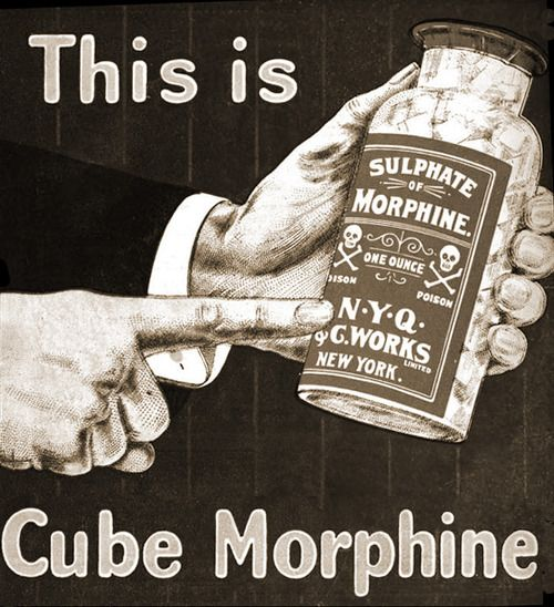 cube morphine, pop it in your coffee, 1902 ( vintage medicine / pharmaceutical / retro advertisement / funny )