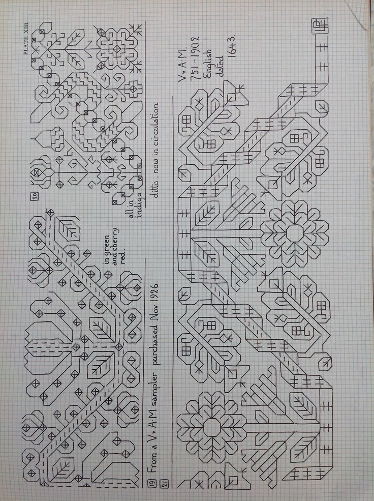 V. And A. Embroidery charts