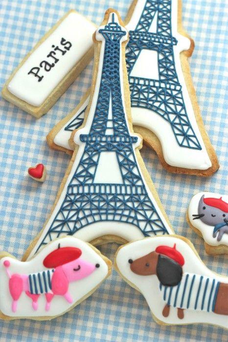 DIY Eiffel Tower cookies tutorial. So cute!