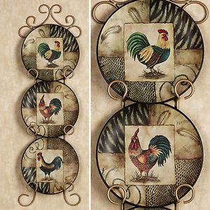 Decorative Rooster Plates Set of 3 Roosters Plate Kitchen Dining ...