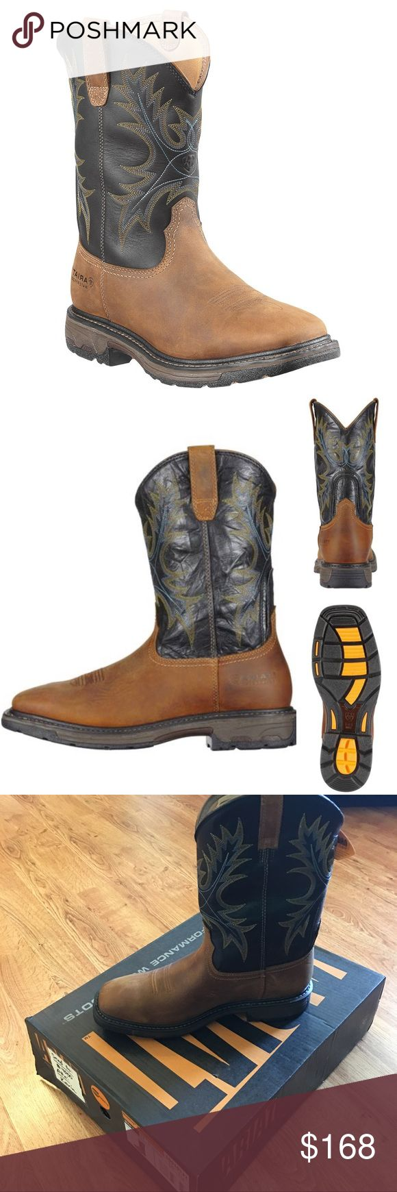 Ariat Workhog Waterproof Work Boots - Square Toe NEW!!! Premium work boots by Ariat. Full grain waterproof leather construction. Self-cleaning & non-tracking outsole tread design. Oil-resistant Duratread soles outlast traditional soles, offer superior traction, & provide max energy return. U-Turn Entry System with hidden gore panel provides easy-on give for wide widths or high arches. Square toe profile. ASTM-rated electric hazard protection. Color is Aged Bark. Ariat Shoes