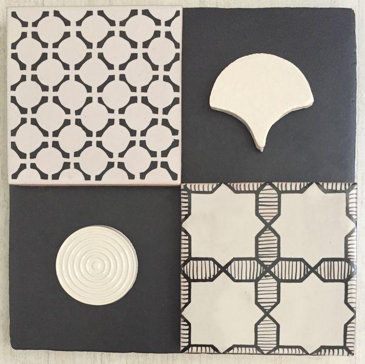 Geometrie di motivi in bianco e nero. Piastrelle #DomenicoMori interamente lavorate a mano. ***  Geometrical black and white motifs. Handmade tiles by #MoriDomenico. #madeinItaly #black #white