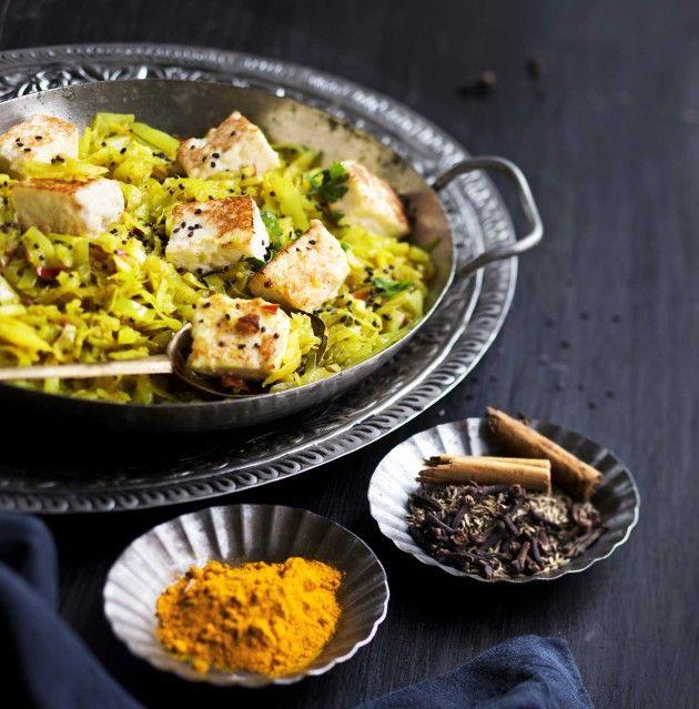 Punjabilainen kaali paistetun juuston kera