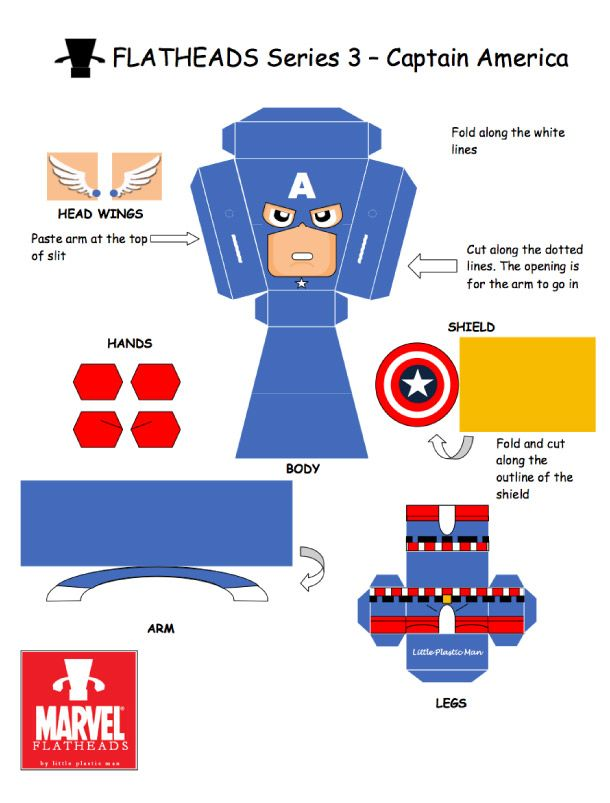 Blog Paper Toy papertoys FlatHeads Captain America template preview FlatHeads Series 3 Marvel Heroes (x 5)