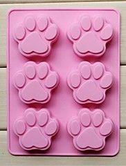 Stampi 6 buche del gatto forma zampa torta di gelatina ghiaccio cioccolato, silicone 18,5 × 14,1 × 1,6 centimetri (7.3 × 5.6 × 0.6 pollici)